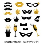 black and gold moustaches  lips ... | Shutterstock .eps vector #535991944
