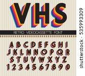 90's retro font. vector vhs... | Shutterstock .eps vector #535993309