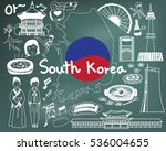 travel to south korean doodle... | Shutterstock .eps vector #536004655