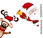 funny santa and reindeer on... | Shutterstock . vector #536005591
