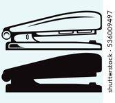 metal stapler. isolated on blue ...   Shutterstock .eps vector #536009497