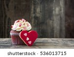 valentine cupcakes and cookie... | Shutterstock . vector #536013715