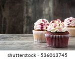 valentine cupcakes decorated... | Shutterstock . vector #536013745