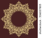 oriental vector round golden... | Shutterstock .eps vector #536037805