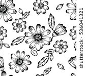 Stock photo seamless hand drawn black and white floral pattern from garden flowers and leaves for fabric 536041321