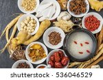 dishes prepared with medicinal... | Shutterstock . vector #536046529