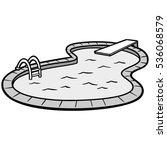 in ground pool illustration | Shutterstock .eps vector #536068579