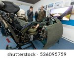 Small photo of VELIKA GORICA, CROATIA - DECEMBER 10, 2016: On the occasion of the 25th anniversary of the Croatian Air Force and Air Defence, was held Open Day. Flight simulator cockpit of MIG fighter plane
