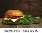 home made hamburger with cheese ... | Shutterstock . vector #536112745