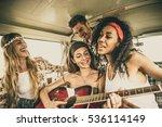 hippie friends driving on a... | Shutterstock . vector #536114149