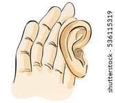 using hand on ear listening for ... | Shutterstock .eps vector #536115319