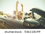 couple driving on a convertible ... | Shutterstock . vector #536118199