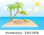 island in the sea with two palm ... | Shutterstock .eps vector #53611858
