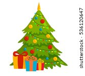 decorated christmas tree with... | Shutterstock .eps vector #536120647