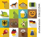 germany icons set. flat... | Shutterstock .eps vector #536121544