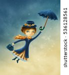 woman flying with an umbrella... | Shutterstock . vector #536128561