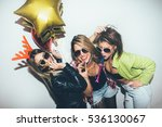 three female friends posing in... | Shutterstock . vector #536130067