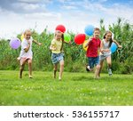 four kids running in park with...   Shutterstock . vector #536155717