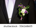 boutonniere of white roses on a ... | Shutterstock . vector #536168605