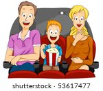 family watching movie   vector | Shutterstock .eps vector #53617477