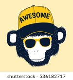 handsome monkey head drawing... | Shutterstock .eps vector #536182717