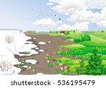 spring rural landscape with...