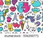 doodles cute seamless pattern.... | Shutterstock .eps vector #536200771