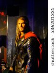 Small photo of AMSTERDAM, NETHERLANDS - OCT 26, 2016: Chris Hemsworth as Thor, Marvel section, Madame Tussauds wax museum in Amsterdam. One of the popular touristic attractions