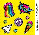pop art fashion chic patches ... | Shutterstock .eps vector #536208637