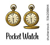antique pocket watch with metal ... | Shutterstock .eps vector #536208844