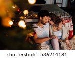 couple in in pajamas resting on ... | Shutterstock . vector #536214181