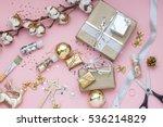 light pink christmas  new year  ... | Shutterstock . vector #536214829