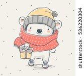 cute bear with a gift cartoon... | Shutterstock .eps vector #536220304