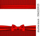 red bow on red knitted... | Shutterstock .eps vector #536220925