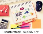 business workplace with devices ... | Shutterstock . vector #536237779