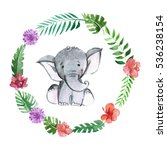 Stock photo cute baby elephant animal for kindergarten nursery children clothing pattern 536238154