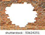 Old Brick Wall With A White Hole