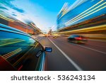 speeding car motion blur | Shutterstock . vector #536243134