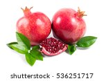 ripe pomegranates with leaves... | Shutterstock . vector #536251717