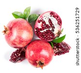 ripe pomegranates with leaves... | Shutterstock . vector #536251729