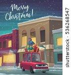 christmas holiday card. cartoon ... | Shutterstock .eps vector #536268547