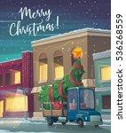 christmas holiday card. cartoon ... | Shutterstock .eps vector #536268559
