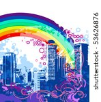 blue town with a rainbow | Shutterstock .eps vector #53626876