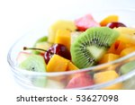 Fresh Fruits Salad On White...