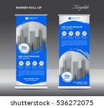 blue roll up banner template... | Shutterstock .eps vector #536272075