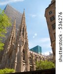 This is a shot of St. Patricks Cathedral in the Summertime. - stock photo