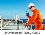 deck officer using radio on the ... | Shutterstock . vector #536276011
