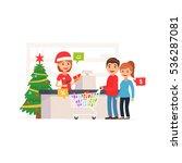 cute supermarket store. family... | Shutterstock .eps vector #536287081