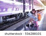 traveler woman on railway in... | Shutterstock . vector #536288101