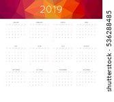 calendar 2019 year simple style.... | Shutterstock .eps vector #536288485